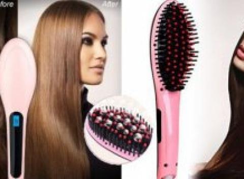 Digitálna antistatická keramická kefa so žehličkou na vlasy. Poradí si so  všetkými typmi vlasov. f7c66830ba1