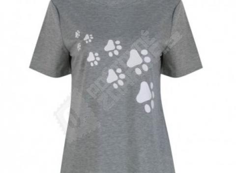 Štýlové dámske tričko s potlačou psích či mačacích labiek 831e4199018