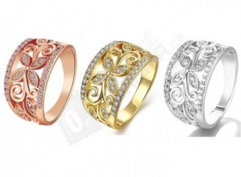 1f3f71ad4bd Elegantný dámsky široký prsteň s kvetom