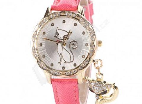 Dámske mačacie hodinky s príveskom 0fdb543e06