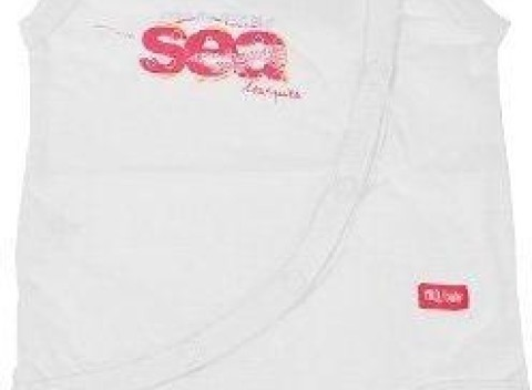 Biele dojčenské body bez rukávov s ružovým nápisom Sea Mariquita 48ca0091824