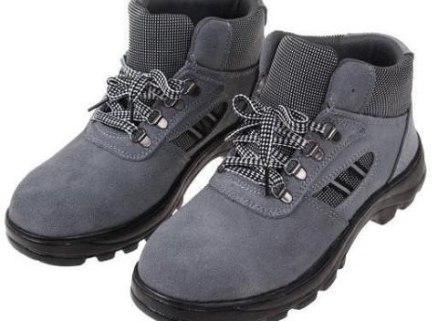 Členkové pracovné kožené topánky s vystuženou špičkou v sivej farbe a340e9330e6