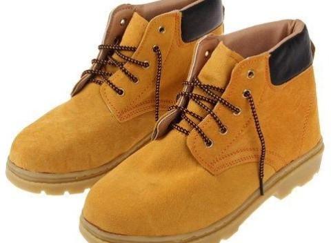 Členkové pracovné kožené topánky v žltej farbe s vystuženou špičkou 533e66d4a8f