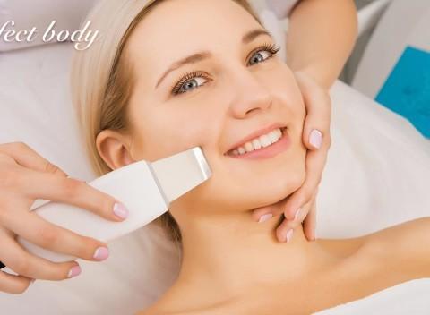 Čistenie pleti ultrazvukovou špachtľou a masáž tváre v salóne Perfect Body. c5553bad28a