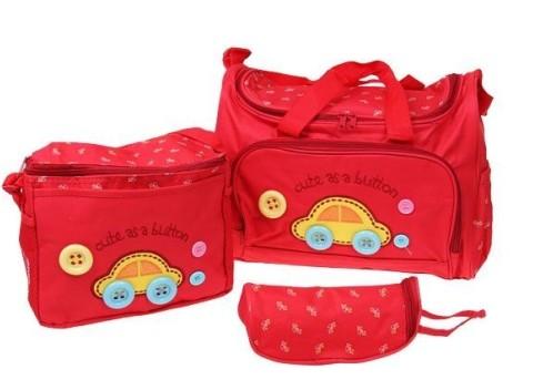 e21a81f014 Prebaľovacia taška set 3 ks červená. Praktická sada 2 tašiek a 1 obalu na  fľašu