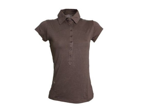6a4a18288 Pohodlnné bavlnené dámske tričko s krátkym rukávom v hnedej farbe.