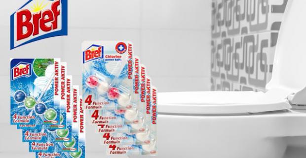 Výhodné balenie 10 WC blokov BREF Power Activ. Vďaka 4 funkciám vám zaručí hygienickú čistotu, voňavú toaletu pri každom spláchnutí.