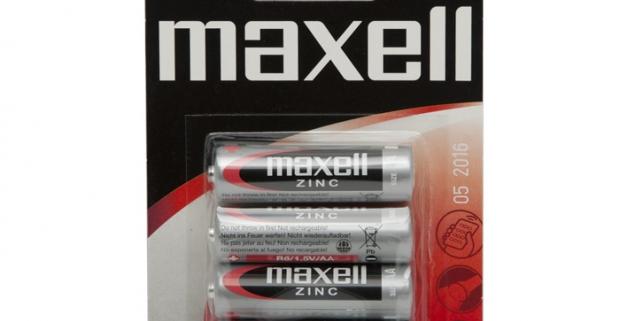 MAXELL tužková batéria AA. Zabezpečené proti vytečeniu a proti náhodnému spojeniu nakrátko. Neobsahuje ortuť a kadmium.