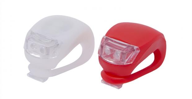 Sada LED lámp na bicykel so silikónovým obalom. Super jasné svetlo pre optimálne osvetlenie vozovky a zvýšenie vašej bezpečnosti.