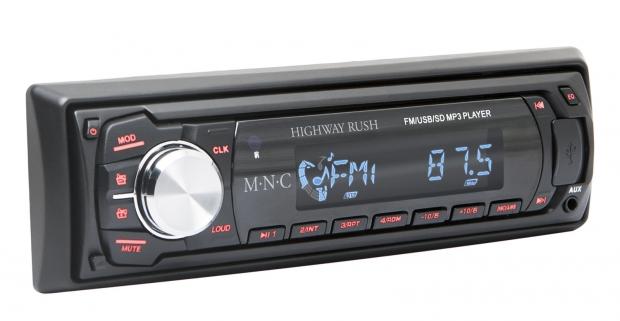 Moderné M.N.C MP3 autorádio s SD/MMC/USB portom. Vašu obľúbenú hudbu si jednoducho uložte na SD/MMC kartu alebo na USB kľúč.