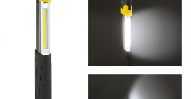 Teleskopická COB LED lampa so sklopnou hlavou. Zabudovaný magnet na spodnej strane umožňuje pevné prichytenie na akýkoľvek kovový povrch.