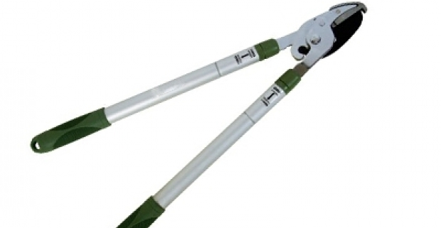 Praktické teleskopické nožnice s pogumovanou rukoväťou vhodné na strihanie kríkov a silných konárov na stromoch.