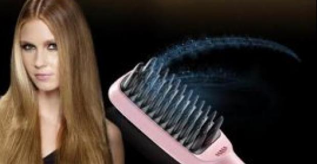 Digitálna žehlička a kefa na vlasy 2v1 s keramickými platničkami a funkciou ionizácie. Uhladený účes jednoducho a bez štiepenia končekov.