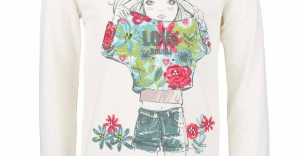 Krémové dievčenské tričko s potlačou a farebnými kamienkami Bóboli. Originálne tričko- skvelé prekvapenie pre vašu dcéru.
