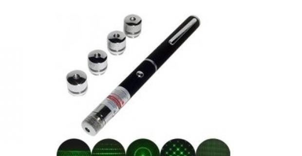 Laser Pointer - laserové ukazovadlo s extra ďalekým dosvitom a 5ks nadstavcov pre efektnú svetelnú šou. Vynikajúca pomôcka a svelý darček.