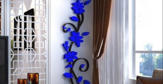 ae6148a9edce Originálna 3D samolepka na stenu s motívom popínavých kvetov. Jedinečná  dekorácia v rôznych farbách