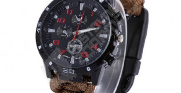 Pánske hodinky s paracord náramkom a kompasom  23143e26269