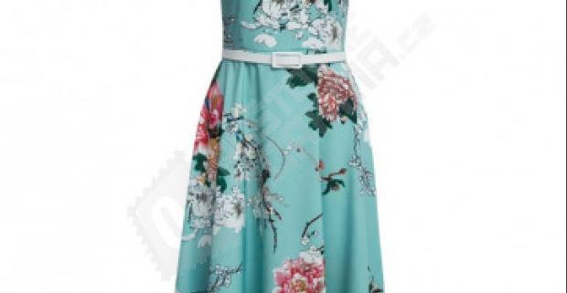 Letné tyrkysové šaty s kvetmi a pásikom - na výber 4 veľkosti. Doprava  zdarma. ca8051f6fc3
