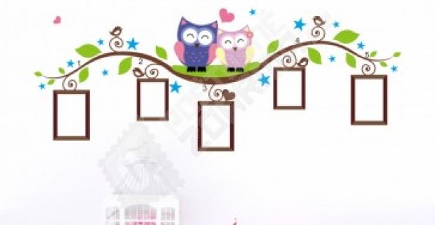 efa7da8852e4 Roztomilá samolepka na steny s motívom sovičiek na konári oživí detskú izbu.  Doprava zdarma.