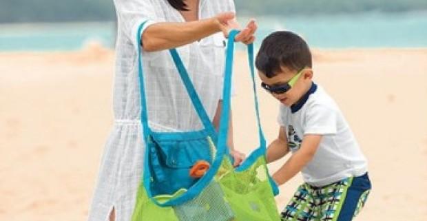 8670608714d1 Praktická skládacia taška na plážové vybavenie a aj detské hračky vo výrazných  farbách.