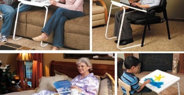 Prenosný viacúčelový stolík s nastaviteľnou výškou a sklonom je univerzálny pomocník. Starší ľudia si obľúbia jeho ľahkosť a funkčnosť.