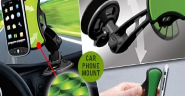 Držiak do auta GripGo pre mobilné telefóny či GPS navigácie so špeciálnou v nanopodložkou. Držiak je vybavený prísavkou na predné sklo.